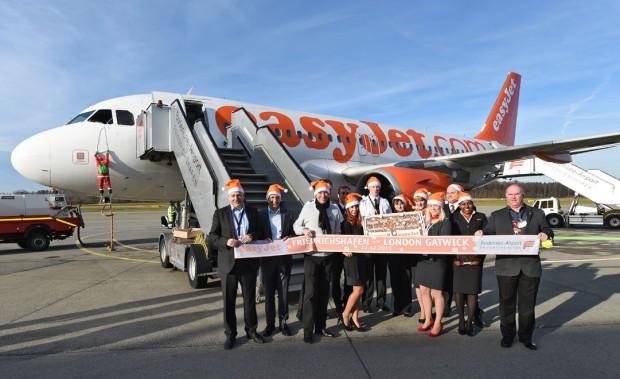 Erstflug EasyJet, Bodensee-Airport in Friedrichshafen am 12.12.2015